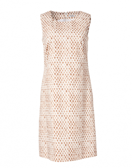Peserico - Beige and White Geo Tile Print Stretch Cotton Dress