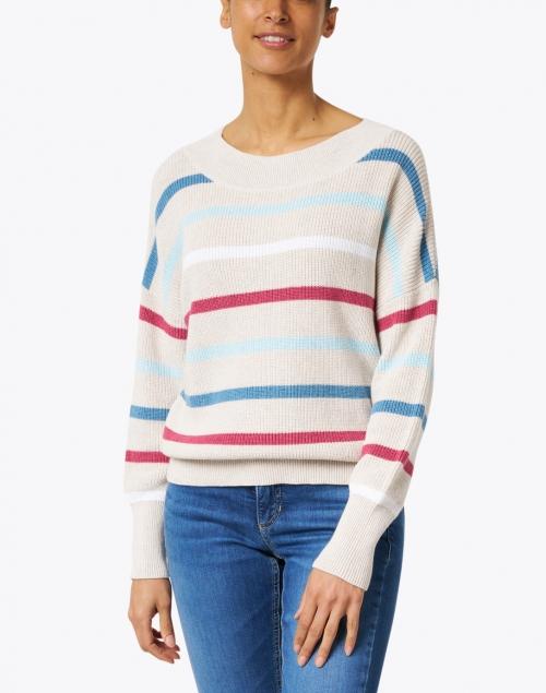 Kinross - Beige Multi Stripe Ribbed Cotton Sweater