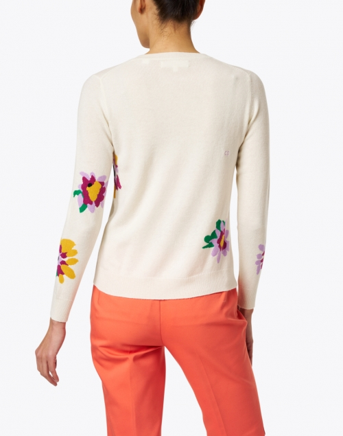 Chinti and Parker - Ivory Floral Intarsia Wool and Cashmere Sweater