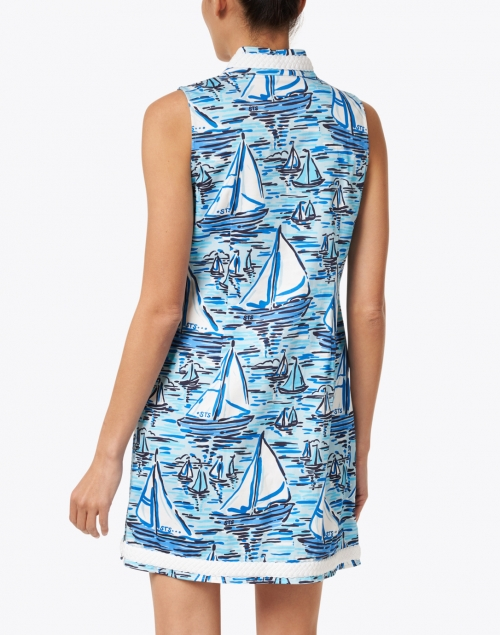 Sail to Sable - Blue Boat Print Stretch Cotton Tunic Dress