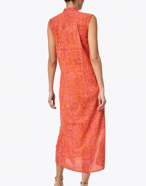 Lisa Corti - Eve Coral Damask Print Cotton Kaftan Dress