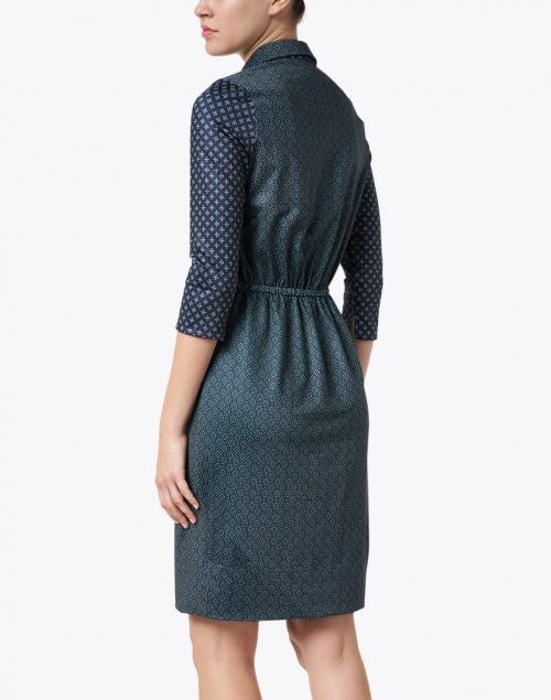 Gretchen Scott - Navy and Green Foulard Printed Twist Front Dress