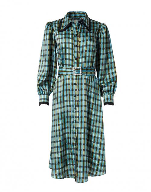 Tara Jarmon Rekine Blue and Yellow Geo Printed Satin Shirt Dress