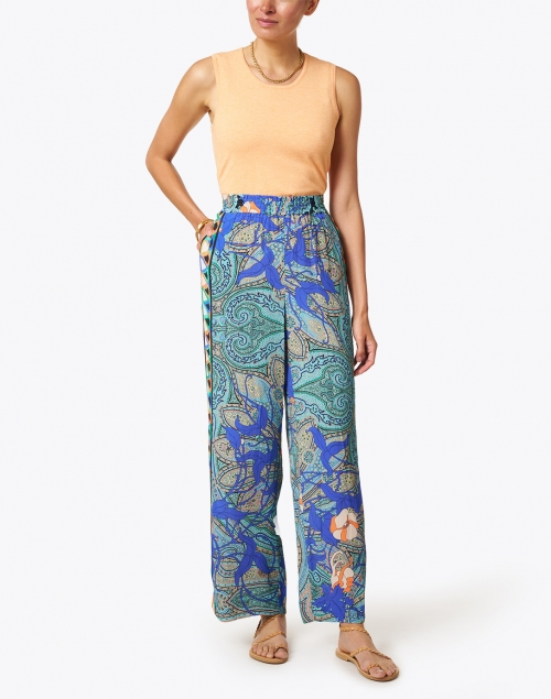 Kobi Halperin - Arlene Blue Paisley Printed Pull-On Pant