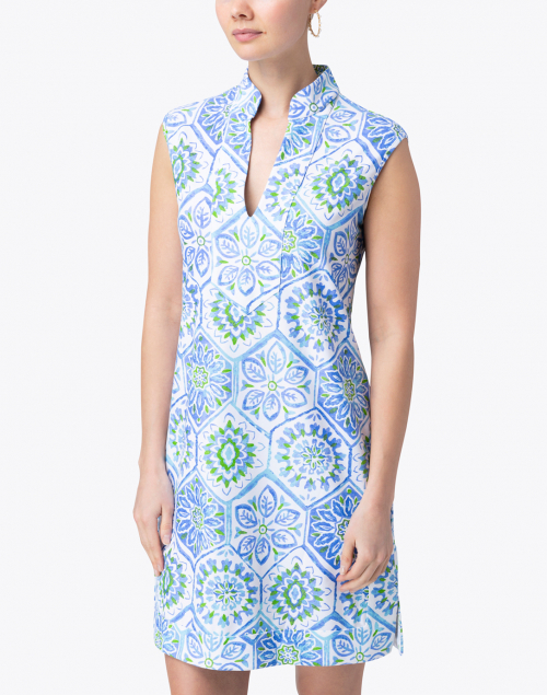 Jude Connally - Kristen Blue and White Mosaic Tile Print Dress