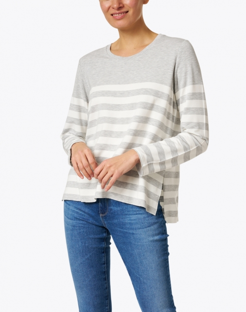 Majestic Filatures - Grey and Ecru Striped French Terry Sweater