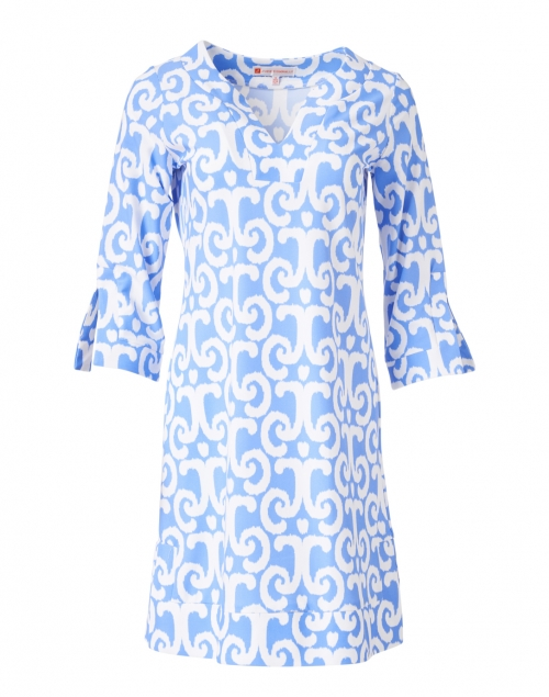 Jude Connally - Megan Perwinkle Blue and White Ikat Print Dress