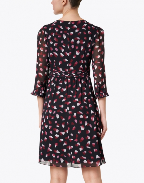 Ports International - Black, Pink and White Petal Print Dress