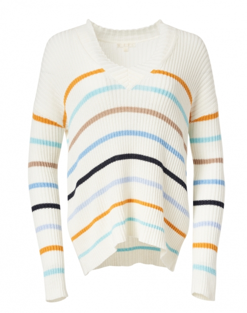 Lisa Todd - Multi Striped Stretch Cotton and Linen Sweater