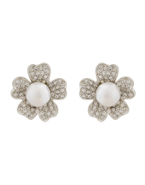 Kenneth Jay Lane - Silver and Crystal Flower Clip-On Earring