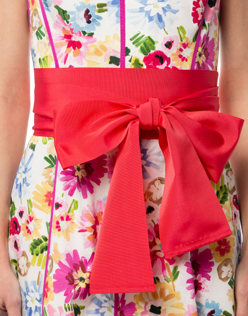 Sara Roka - Coral Pink Wide Ribbed Satin Belt