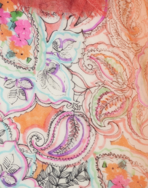 Franco Ferrari - Euclide Pink and Orange Paisley Printed Cashmere Scarf