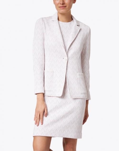 Amina Rubinacci - Eleonora Pink and White Chevron Cotton Knit Blazer