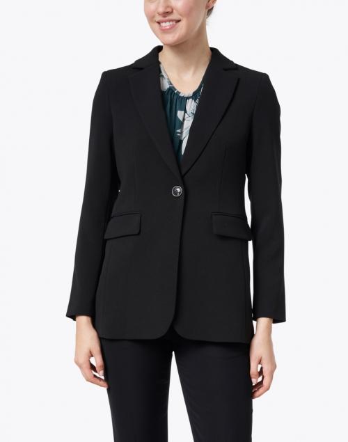 Seventy - Black One Button Blazer with Flap Pockets