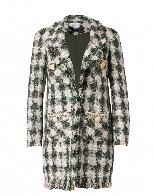 Edward Achour - Green and White Check Lurex Tweed Long Jacket