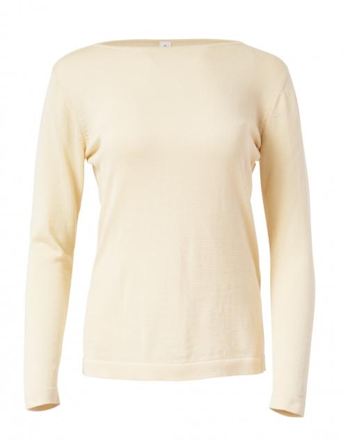 Blue - Light Beige Pima Cotton Boatneck Sweater