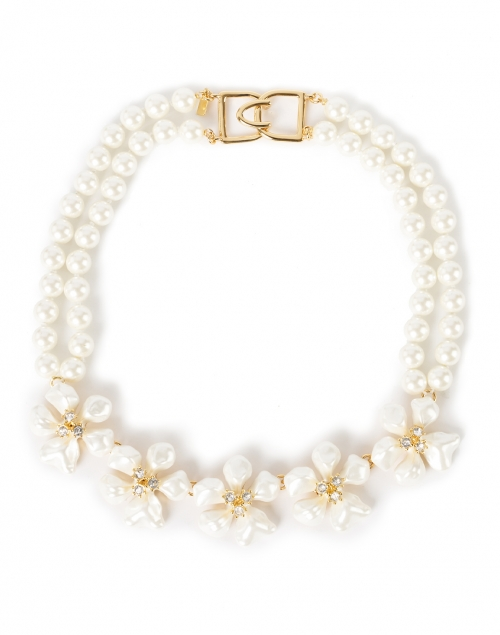Kenneth Jay Lane White Flower and Crystal Flowers Pearl Necklace