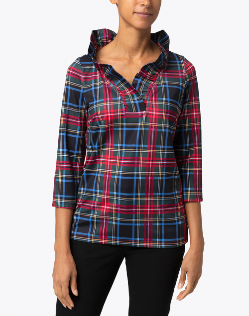 Gretchen Scott - Black Tartan Ruffle Neck Top