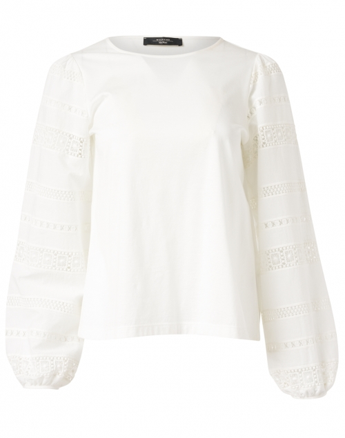 Weekend Max Mara Giotto White Embroidered Cotton Top