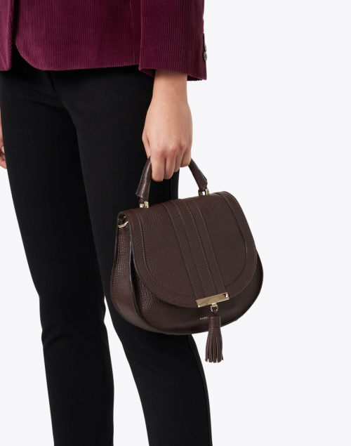 DeMellier - Mini Venice Tobacco Brown Textured Leather Cross-Body Bag