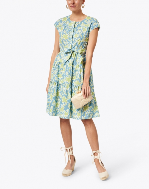 Rosso35 - Blue and Green Floral Cotton Poplin Dress