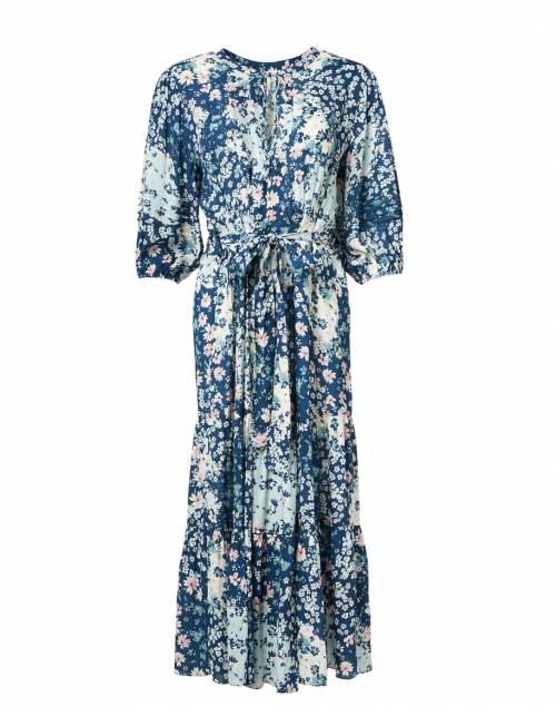 Shoshanna - Grand Blue and White Floating Lilies Print Viscose Dress