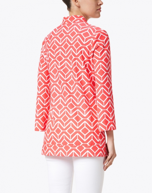 Jude Connally - Chris Red and White Geometric Printed Nylon Top