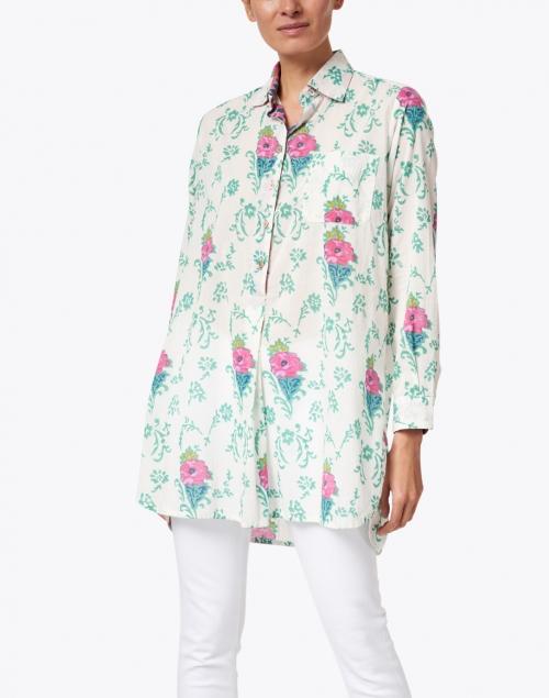 Lisa Corti - Ube Cream Floral Cotton Shirt