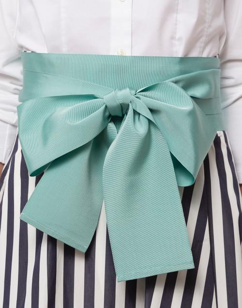 Sara Roka - Mint Green Wide Satin Ribbed Belt