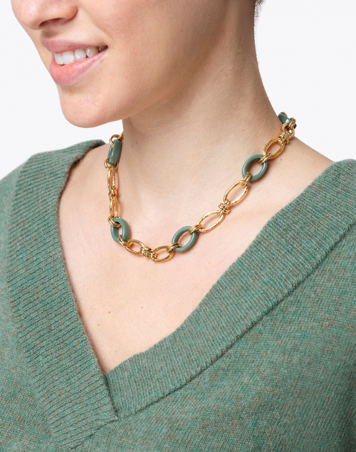 Gas Bijoux - Collier Escale Green and Gold Resin Link Necklace