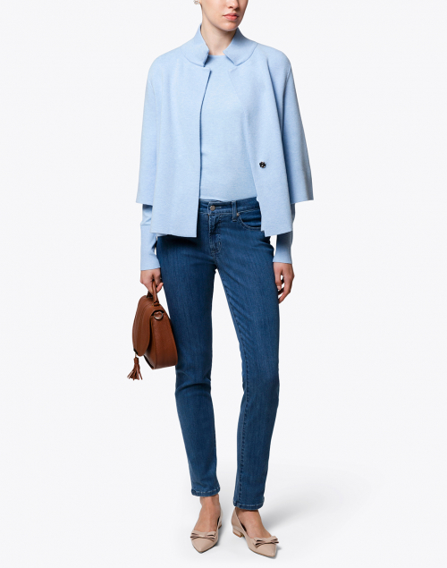 J'Envie - Ice Blue Top with Button Cuff Detail