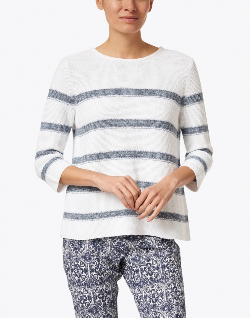 Kinross - White and Cove Blue Striped Cotton Sweater