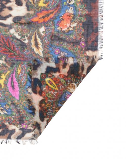 Franco Ferrari - Tarth Leopard Printed Floral Border Wool and Silk Scarf