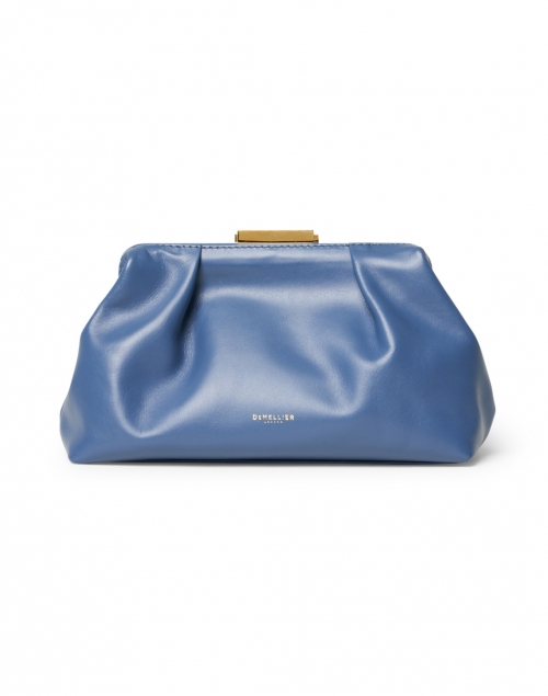 DeMellier Mini Florence Steel Blue Smooth Leather Clutch