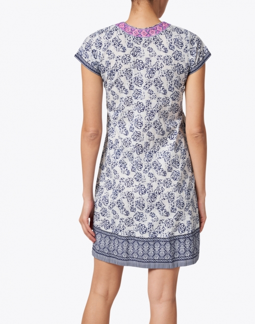 Bella Tu - Erin Indigo Floral Printed Cotton Dress
