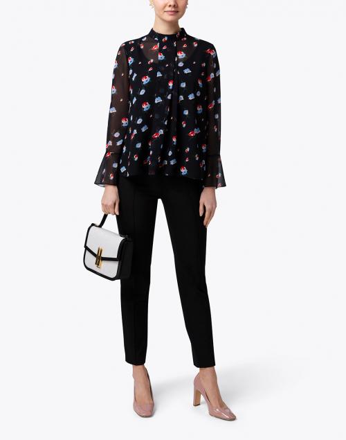Ports International - Black Floral High Collar Blouse