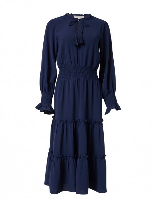 Sail to Sable Navy Tiered Crepe Dress