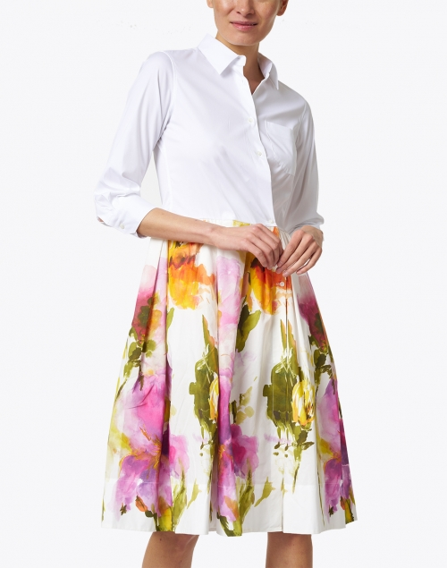Sara Roka - Elenat Orange and Purple Watercolor Floral Shirt Dress