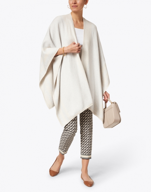 Kinross - Grey and Beige Stripe Cotton Cashmere Ruana