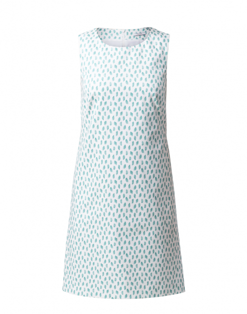 Peserico White and Green Painter Printed Stretch Cotton Dress
