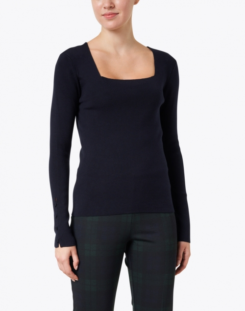 Ecru - Midnight Navy Knit Sweater