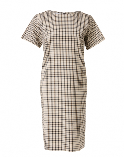 Rosso35 - Beige and Brown Check Shift Dress