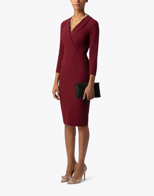 Effie Burgundy Crepe Fitted Dress