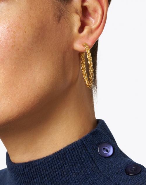 Sylvia Toledano - Gold Chain Small Hoop Earrings