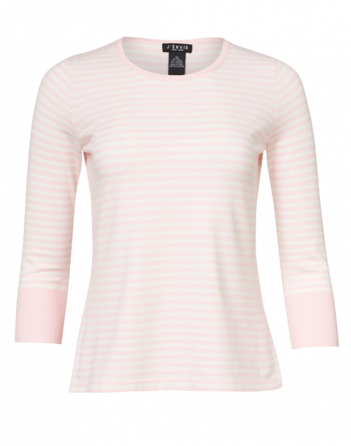 J'Envie - Light Pink and White Stripe Stretch Viscose Top