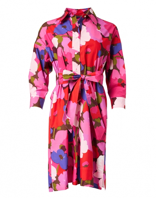 Sara Roka - Ekatery Pink and Purple Floral Cotton Poplin Shirt Dress