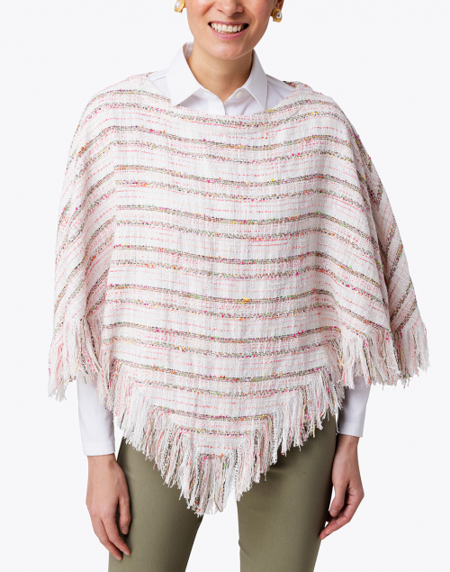 Recreo San Miguel - Whitney Pink and Beige Tweed Fringed Poncho