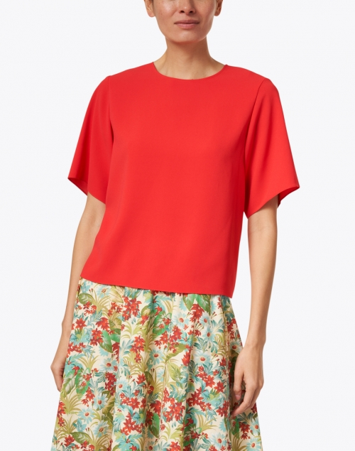 Tara Jarmon - Taji Red Crepe Top