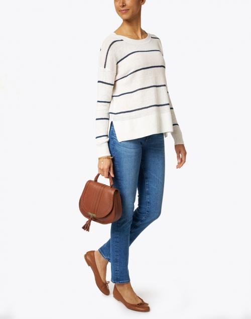 White + Warren - White and Navy Striped Linen Sweater