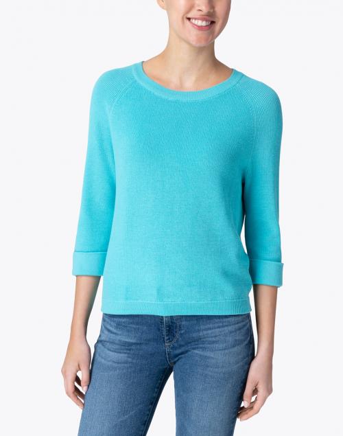 Belford - Breeze Blue Cotton Tab Sleeve Sweater